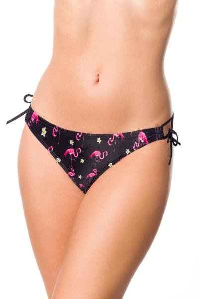 Elastisches Damen Bikiniunterteil Höschen seitlich zum binden Slip Panty und Flamingo Muster schwarz