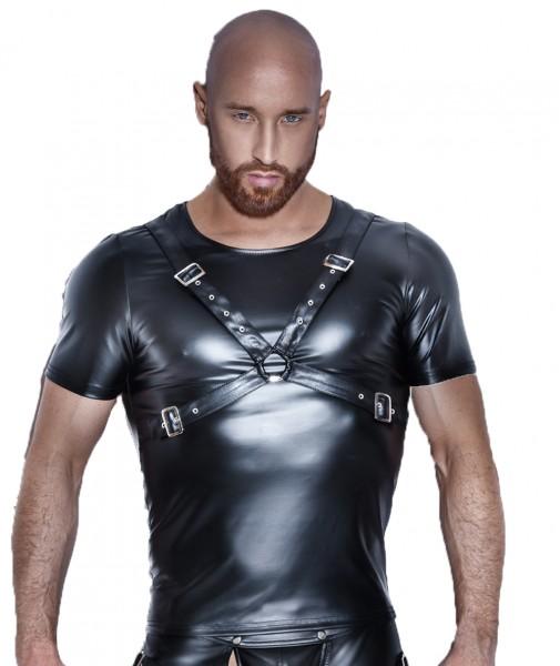 Schwarzes Herren wetlook fetisch T-Shirt Männer Dessous Shirt glänzend