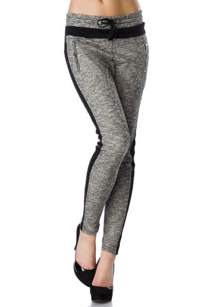Graue Damen Jogginghose mit schwarzen Einsätzen und Reißverschlüssen aus Baumwolle