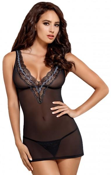 Erotisches Frauen Dessous Reizwäsche Chemise mit String aus Mesh und Spitze schwarz transparent