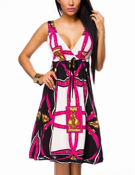 Luftiges Sommerkleid mit V-Ausschnitt vorn und hinten Bändermuster