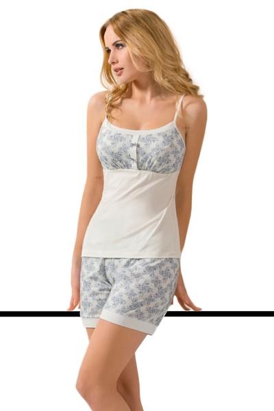 Damen Dessous Pyjama Nachtwäsche Set aus Top mit Hose dehnbar mit Gummibund in weiß blau Schlafanzug