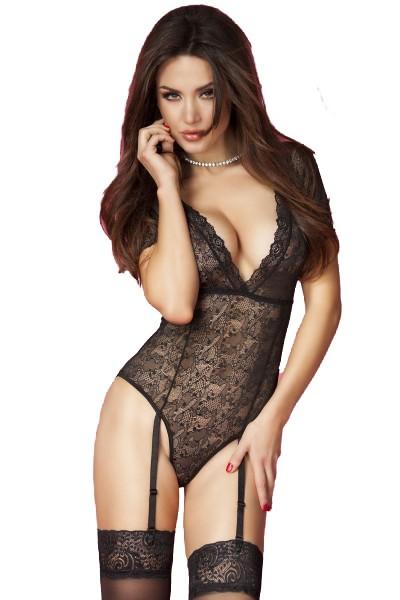 Erotischer Dessous Body elastisch in schwarz aus Spitze halbtransparent mit kurzen Ärmeln und Straps