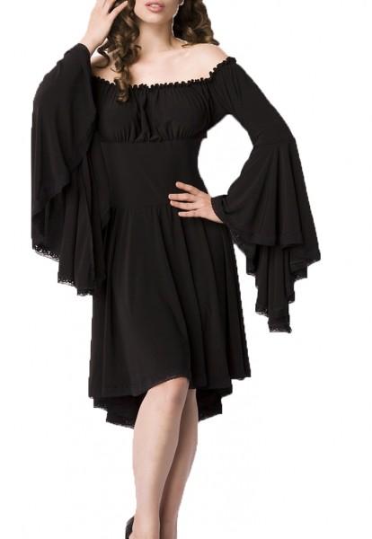 Schwarzes Mittelalter Kleid aus Jersey mit Trompetenärmeln und Carmenausschnitt Spitzenbesatz Mittel