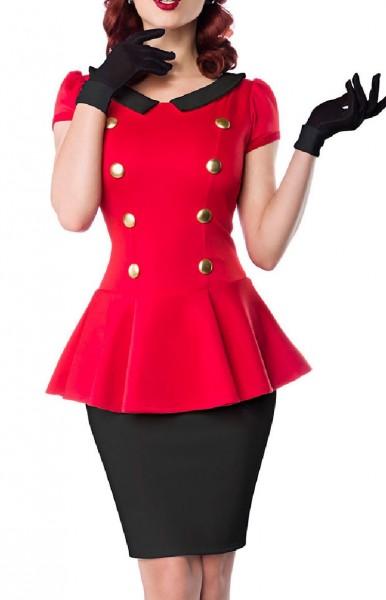 Rotes Schößchen Kleid mit schwarzen Rockteil und Bubikragen goldene Knöpfe Rockabilly Kurzarm Damen