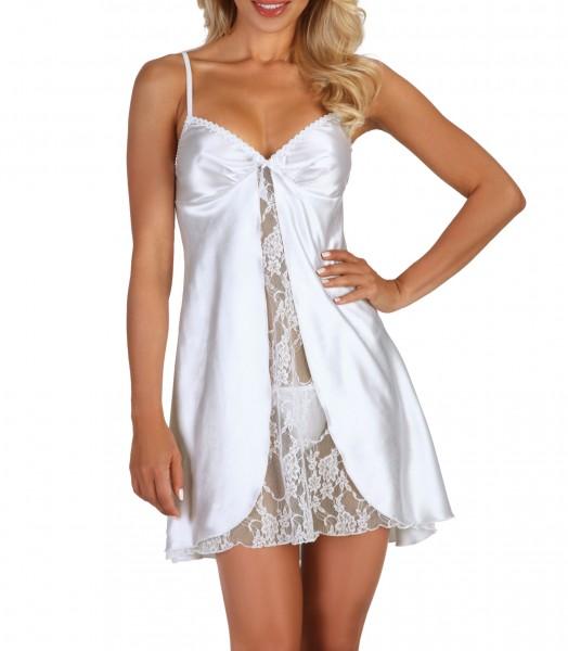Erotisches Chemise Negligee in weiß mit String Tanga Dessous Kleid Nachtkleid aus Satin und Spitze