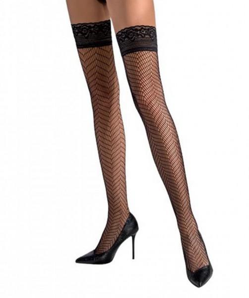 Halterlose schwarze Damen Dessous Netz-Strümpfe Stockings mit Spitze und Silikonstreifen selbsttrage