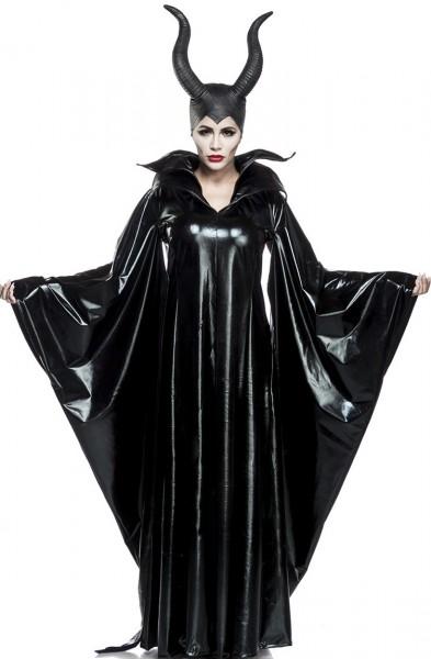 Damen schwarze Fee Anzug Kostüm Verkleidung mit Cape und Hörnern aus Wetlook Umhang Hängeärmel dunkl