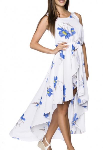 Kurzes Sommerkleid mit Rundhalsausschnitt und Blütendruck Muster asymmetrisch geschnitten Wickelopti