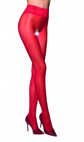 Ouvert Strumpfhose Frauen Dessous in rot elastisch transparent im Schritt offen mit Spitze