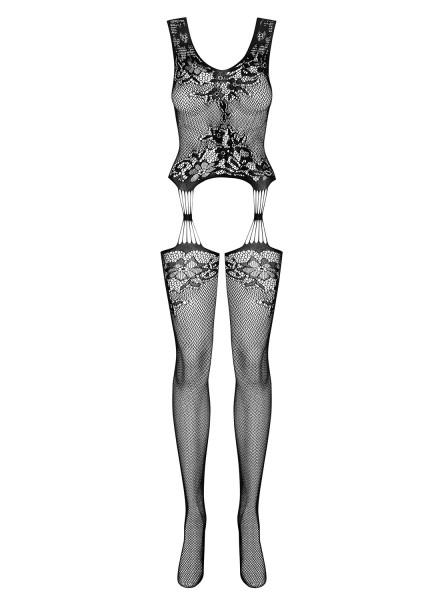 Damen Bodystocking mit Strümpfen und Oberteil ouvert schwarz transparent geblümt
