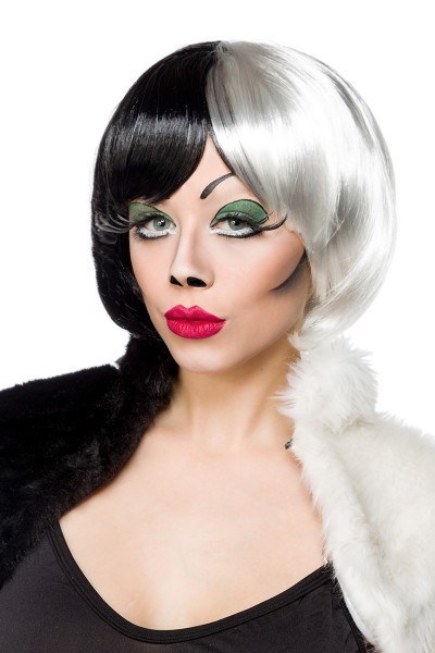 Schwarz weiße Damen Bob Perücke Wig mit glattem Haar kurz Evil Curella Lady Perücke