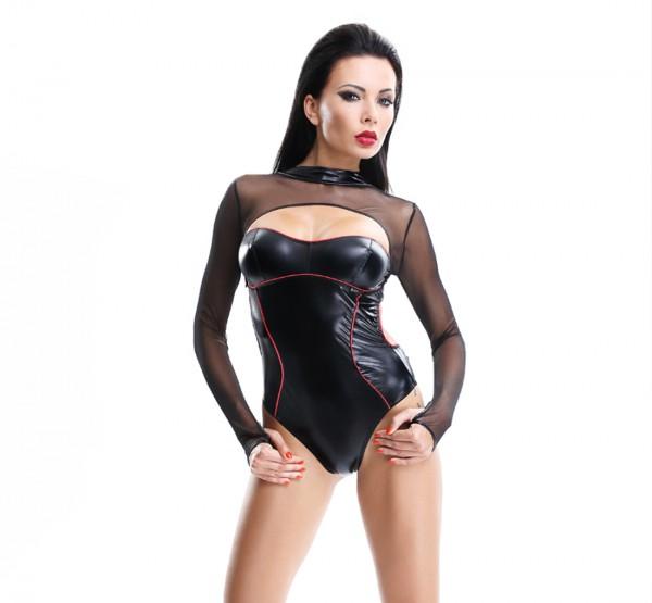 Damen Fessel-Body in schwarz Bondage wetlook Dessous Set aus Body und Seilen