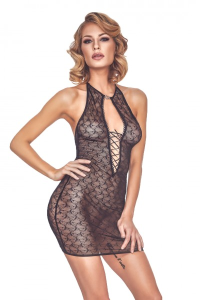 Erotisches schwarzes Damen Dessous Chemise Neckholder Nacht-Kleid aus Tüll transparent