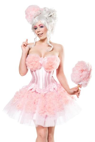 Damen Candy Girl Fantasy Kostüm Zuckerwatten Verkleidung aus Corsage, Hut, Watte und Tutu Rock in sc
