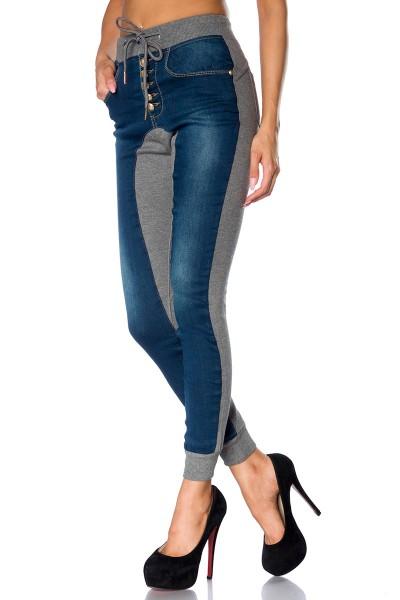 Graue Damen Jogginghose mit Jeans Einsätzen und Knöpfen sportlich geschnitten