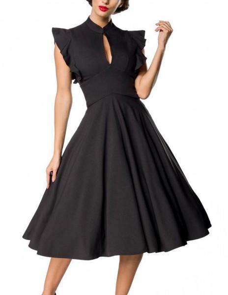 Schwarzes knielanges Vintage Kleid im High Waist Schnitt mit Gürtel und Schlitz-Ausschnitt Vollglock