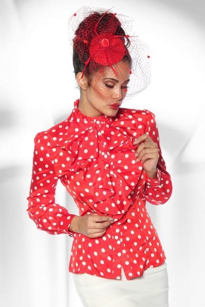 Rote Schluppenbluse mit weißen Punkten und Stehkragen Rockabilly Bluse Damen