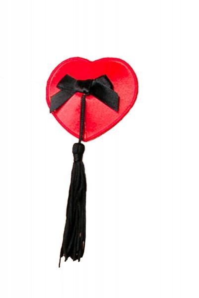 Rosa Damen Nippel Patch glänzend selbsthaftend Herzform mit Quaste 2x