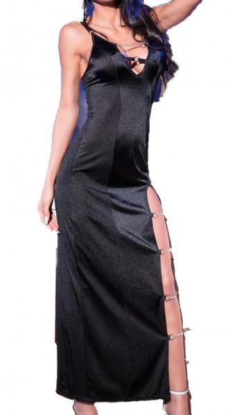 schwarzes langes abendkleid geschlitzt elastisch mit