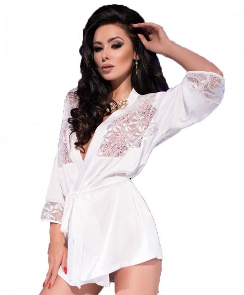 Elegante Dessous Robe Morgenmantel und String in ecru weiß aus Satin und Spitze