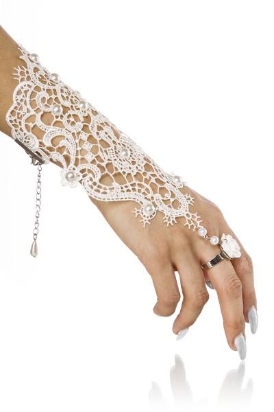 Weißer Damen Handschmuck aus Spitze mit Perlen und Ring als Fingerschlaufe mit Karabinerhakenverschl