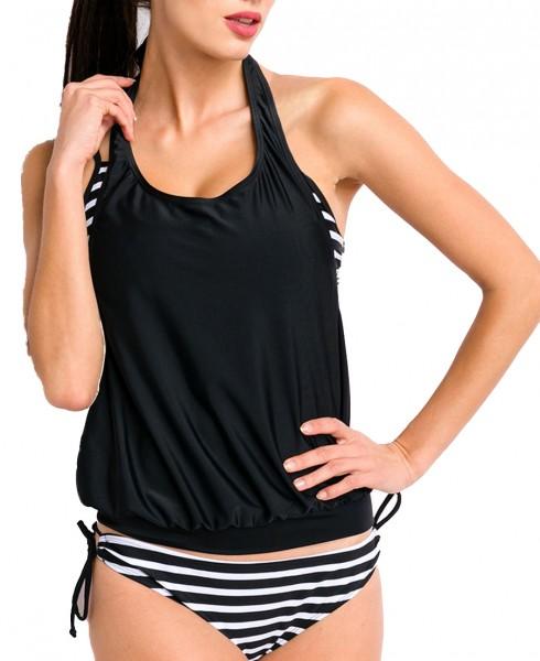 Elastischer Damen Bikini Neckholder Swimsuit mit Top und Streifen Muster schwarz weiß zum binden