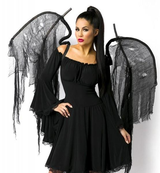 Schwarze Damen Engels Flügel Gummibänder Flüge Dark Angel Verkleidung Geist Dämon Fasching