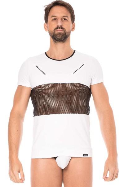 Herren T-Shirt in weiß mit schwarzem Netzeinsatz Männer Dessous Shirt elastisch kurzarm