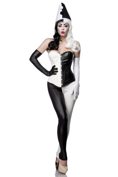 Damen Harlekin Corsage Kostüm Verkleidung mit Corsage, Leggings, Handschuhe in Wetlook schwarz weiß