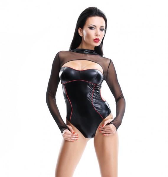 Damen Dessous wetlook Body in schwarz mit Tüll langarm Body glänzend mit Karabinerhaken