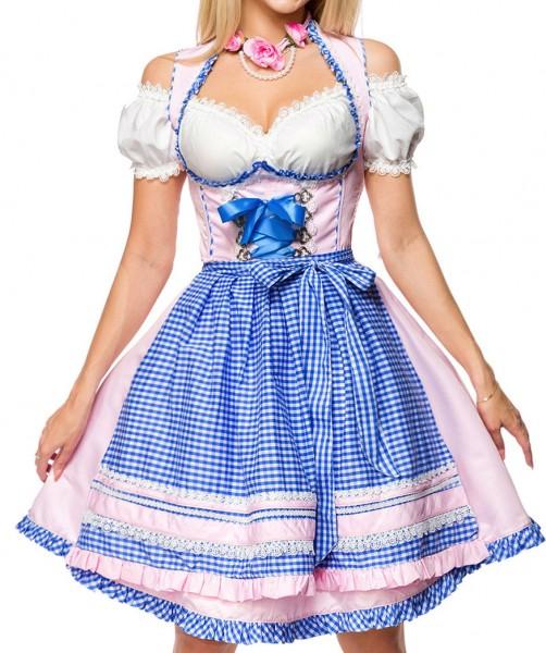 Unterbrust-Dirndl Kleid Kostüm mit Herzausschnitt und Schnürung und Schürze aus kariertem Stoff und