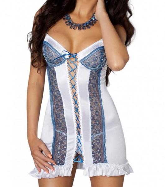 Weiß/blaues Damen Dessous Chemise mit Schnürung aus Satin und Spitze inkl String