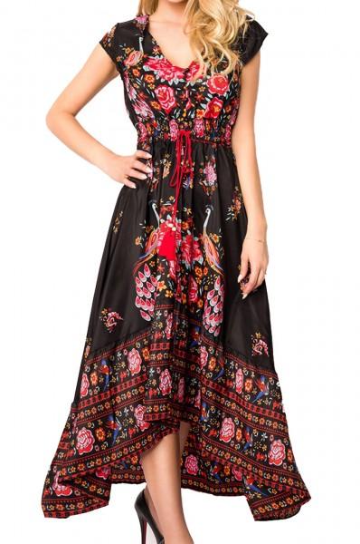Schwarzes langes Kleid mit Blumen Muster tiefem Ausschnitt und Bindeband an der Taille