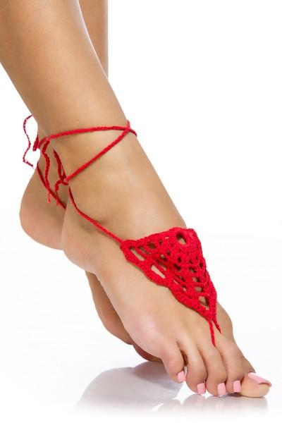 Rote Damen Häkelgamaschen zum binden mit Zehenschlaufe und geflochtene Bändchen