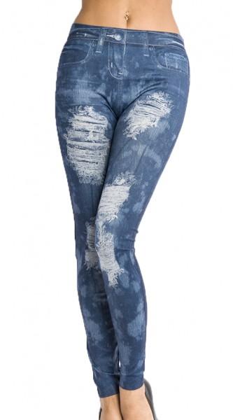 Blaue Jeans Leggings mit Rissen und Nieten Print und Waschung Design Taschen Druck elastische Leggin