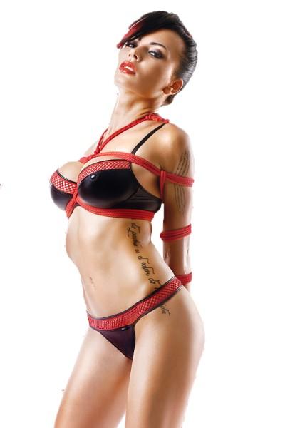 Schwarze rotes Damen Dessous wetlook Gogo-Set mit Bügel-BH, Slip und 2 Seile Reizwäsche Set