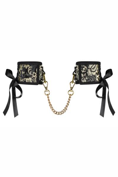 Frauen Dessous goldene Handschellen aus Spitze und Metall Ketten Schwarz Metallring Schleifen Größe: