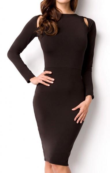 Schwarzes langes offenes Kleid mit Bänder und Schulter-Ausschnitt Ausschnitt am Rücken S