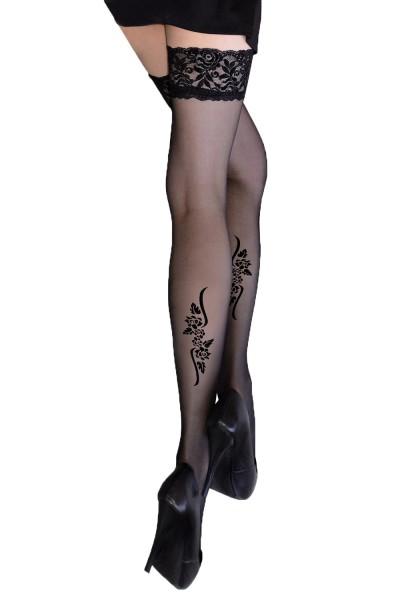 Halterlose Damen Dessous Strümpfe mit Silikonstreifen und Blumen Spitzen-Muster in schwarz 20 den