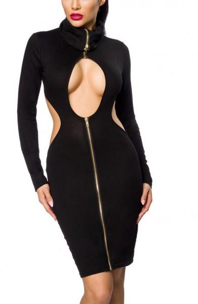 Schwarzes Damen Abendkleid aus Jersey mit großem Ausschnitt, Frontreißverschluss und langen Ärmeln R