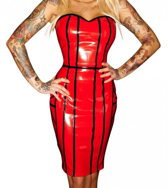 Rotes Dessous Kleid mit schwarzen Lack Streifen aus wetlook Material erotisches Minikleid mit Schnür