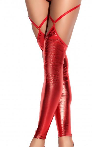 Rote Damen Dessous wetlook Strümpfe Stockings mit Reißverschluss hinten halterlos dehnbar
