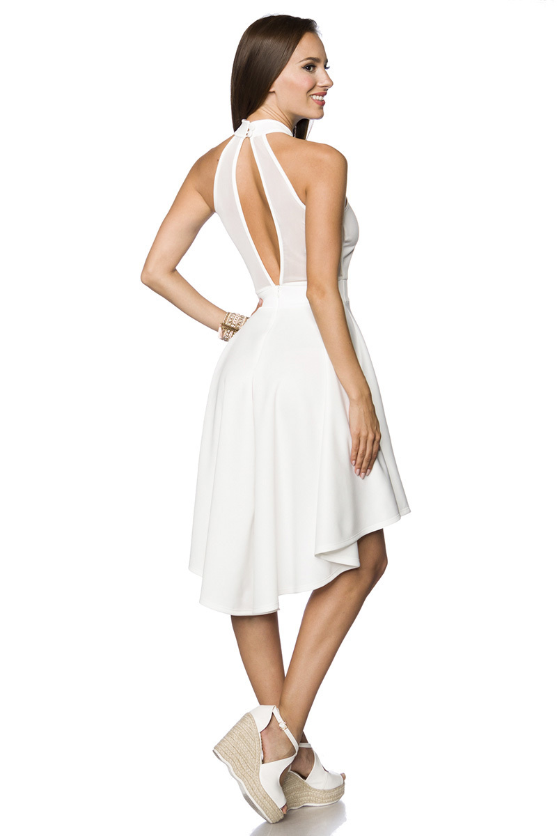 4a92eb754d9 ... Vorschau  Weißes Neckholder Sommerkleid mit ausgestelltem Rockteil und  tiefem Ausschnitt vorn und hinten asymm