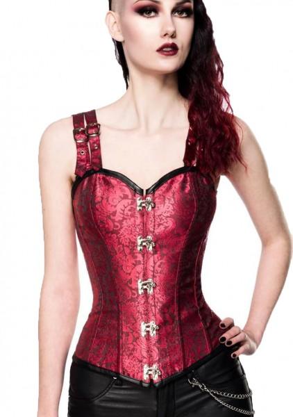 Rotes Damen Corsage mit Schnallen Träger Korsett, herzförmigem Ausschnitt und Schnürung hinten aus M