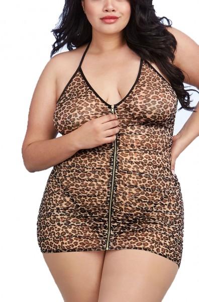 Frauen Dessous Babydoll Minikleid in leopard mit String aus Mesh und Frontreißverschluss transparent