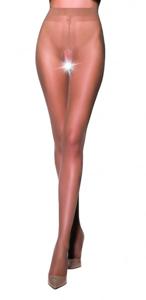 Ouvert Strumpfhose Frauen Dessous in beige elastisch transparent im Schritt offen