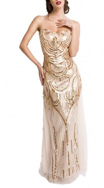 Goldenes langes Abendkleid aus Jersey und Tüll mit Pailletten Meerjungfrau-Schnitt zum Schnüren Schu
