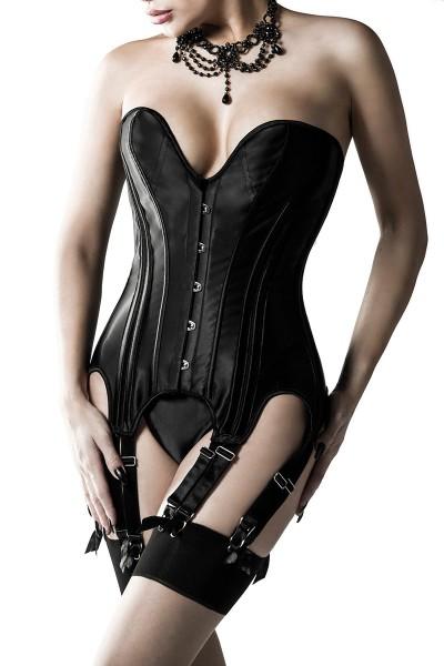 Erotische schwarze Damen Straps-Corsage Korsette mit String blickdicht fetisch Set aus Netzstoff und