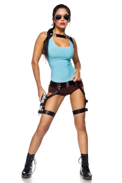 Damen Gamer Girl Outfit KostümVerkleidung mit Top, Shorts, Rucksack, Pistolen und Sonnenbrille in bl